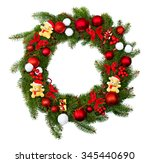 christmas wreath decoration on... | Shutterstock . vector #345440690