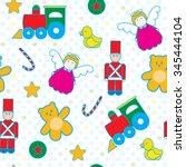 toys seamless pattern vector.... | Shutterstock .eps vector #345444104