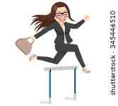 happy businesswoman jumping... | Shutterstock .eps vector #345446510