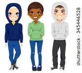 full body illustration of three ... | Shutterstock .eps vector #345446528
