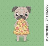 cute cartoon pug eating italian ... | Shutterstock .eps vector #345452030