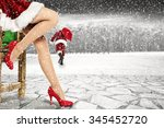 Closeup Of Woman Legs With Red...