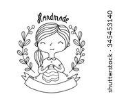 cute cartoon girl knitting.... | Shutterstock .eps vector #345453140