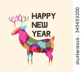 happy new year greeting card or ... | Shutterstock .eps vector #345453200