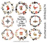 christmas greeting wreaths with ... | Shutterstock .eps vector #345462674