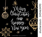 merry christmas and happy new... | Shutterstock .eps vector #345463490