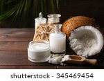 spa coconut products on dark... | Shutterstock . vector #345469454