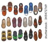 Set Of Men Shoes On White...