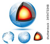 earth core structure with... | Shutterstock .eps vector #345473348
