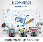 e commerce concept with doodle... | Shutterstock . vector #345473840