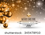 merry christmas seasonal... | Shutterstock . vector #345478910