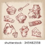 hand drawn sketch set of dairy... | Shutterstock .eps vector #345482558