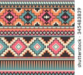 retro pastel multicolor tribal... | Shutterstock .eps vector #345483839