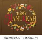 happy hanukkah logotype  badge...   Shutterstock .eps vector #345486374