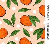 seamless hand drawn tangerine... | Shutterstock .eps vector #345496823