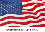 full frame of the us flag flying | Shutterstock . vector #3454977