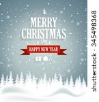 christmas greeting card on blue ... | Shutterstock .eps vector #345498368