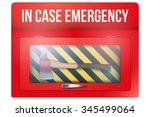 red box with axe in case of... | Shutterstock .eps vector #345499064