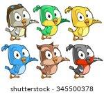very adorable birds character... | Shutterstock .eps vector #345500378