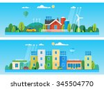 two horizontal banners. red... | Shutterstock .eps vector #345504770