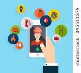 emergency call. vector modern... | Shutterstock .eps vector #345511379