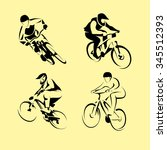 cyclists on bikes  icons set... | Shutterstock .eps vector #345512393