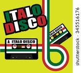 retro poster   80s party flyer... | Shutterstock . vector #345516176