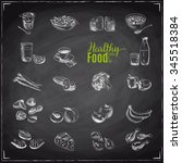 vector set of healthy food.... | Shutterstock .eps vector #345518384