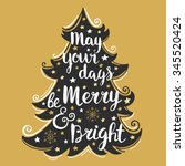 hand drawn christmas and new... | Shutterstock .eps vector #345520424