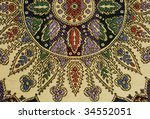 Moroccan silk tapestry - stock photo