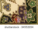 Moroccan silk tapestry (extreme closeup) - stock photo