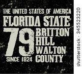 Florida T-shirt fashion Typography label, grunge style, sport emblem design, graphic print