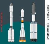 russian space rockets set.... | Shutterstock .eps vector #345526859