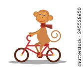 cute monkey with scarf on bike... | Shutterstock .eps vector #345528650