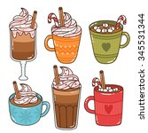 set of six cute mugs and... | Shutterstock .eps vector #345531344