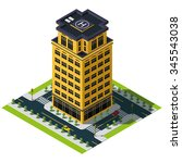 isometric city map. bank... | Shutterstock .eps vector #345543038