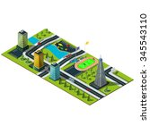 isometric map. crossroads and... | Shutterstock .eps vector #345543110
