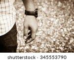 closeup photo of man hold a... | Shutterstock . vector #345553790
