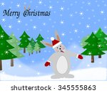 greeting card rabbit with... | Shutterstock . vector #345555863