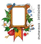 easel with a blank canvas ... | Shutterstock .eps vector #345560408