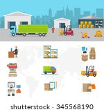delivery of goods logistics and ... | Shutterstock . vector #345568190