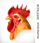 Rooster Head  Realistic Vector...