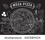 set of ingredients for pizza... | Shutterstock .eps vector #345589424