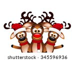 Christmas Card With Three Happy ...