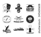 barber shop emblem  label and... | Shutterstock .eps vector #345600608