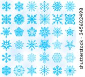 set of vector snowflakes icon.... | Shutterstock .eps vector #345602498