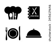 restaurant vector icon  set | Shutterstock .eps vector #345619646