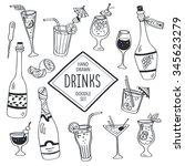 drinks doodle set. hand drawn... | Shutterstock . vector #345623279