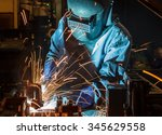 worker with protective mask... | Shutterstock . vector #345629558