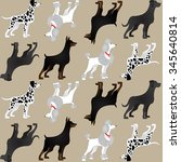 pattern with different breeds... | Shutterstock .eps vector #345640814